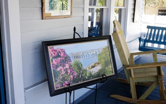 Art on the porch at Ricky Evans Gallery
