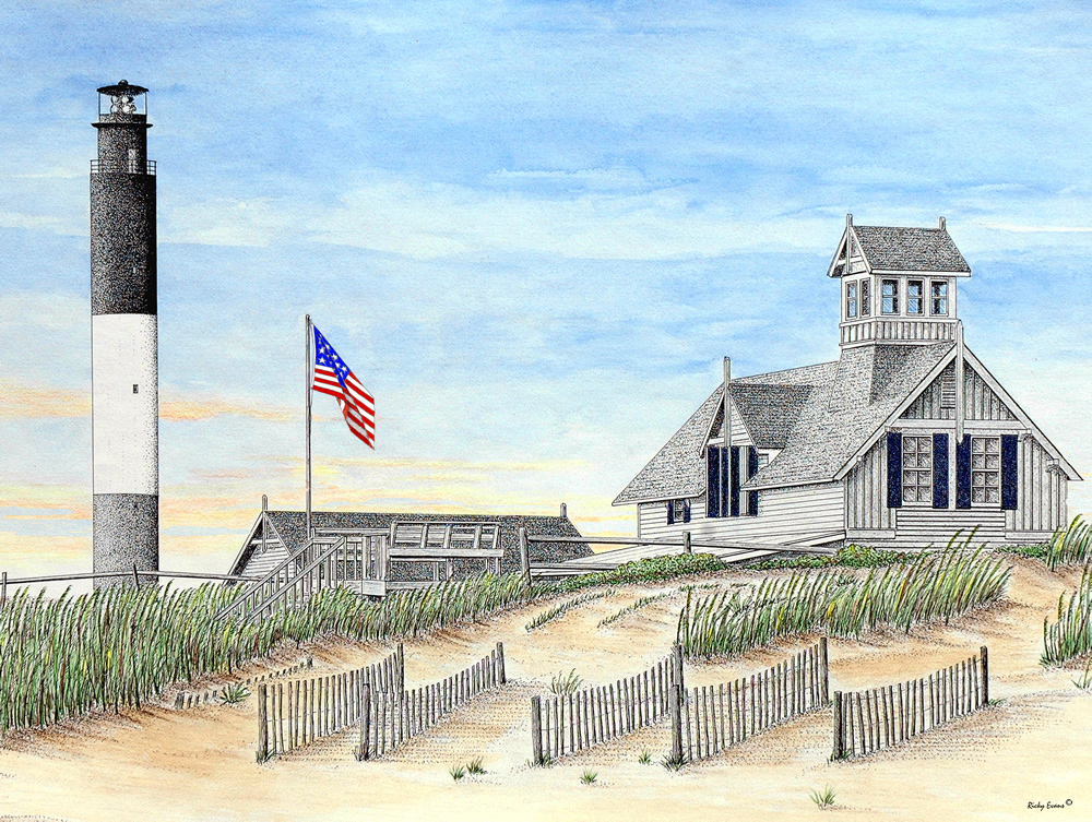 Oak Island Light II - Watercolor by Ricky Evans