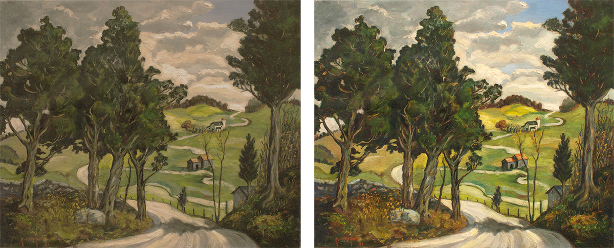 Landscape Painting Before After Restoration
