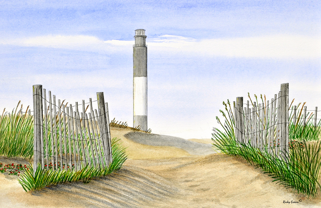 Beach Fence painting by Ricky Evans
