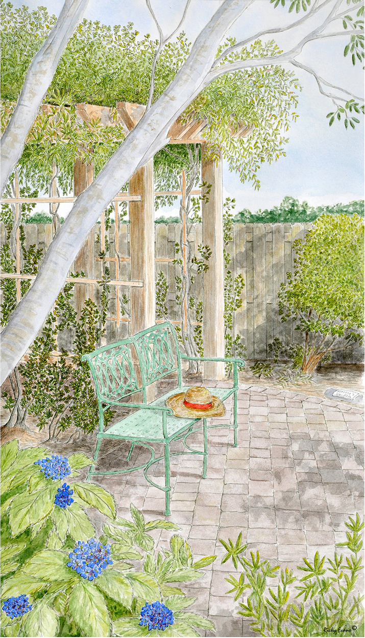 Meezies Garden painting by Ricky Evans