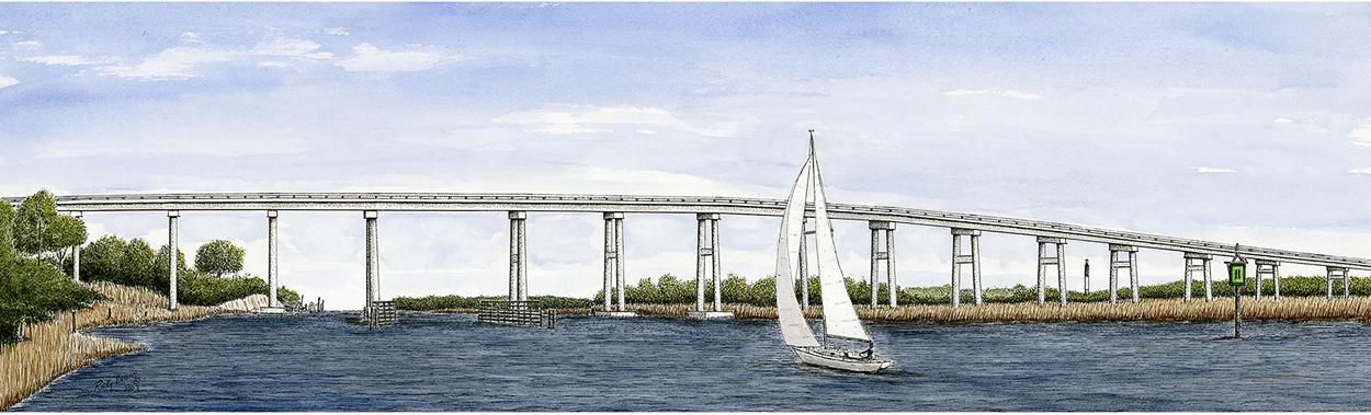 Oak Island Bridge painting by Ricky Evans