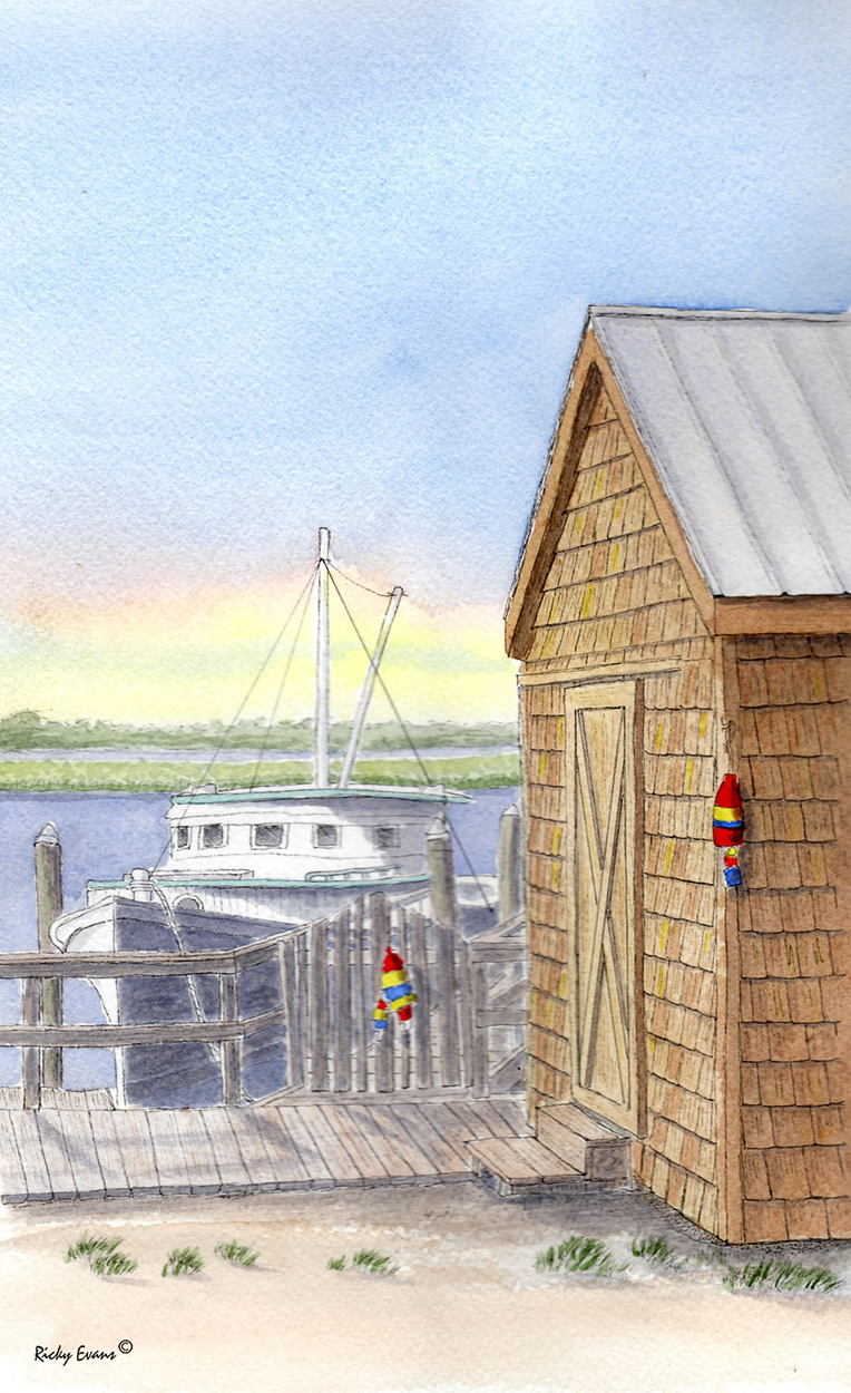 Potters Boat Shed painting by Ricky Evans