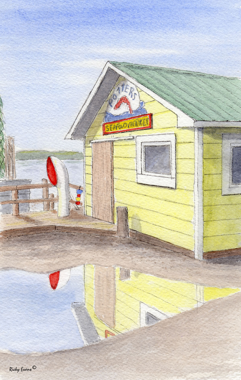 Potters Seafood - painting by Ricky Evans
