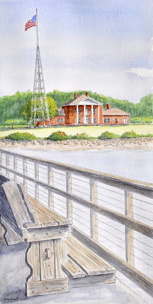 Fort Johnston watercolor by Ricky Evans