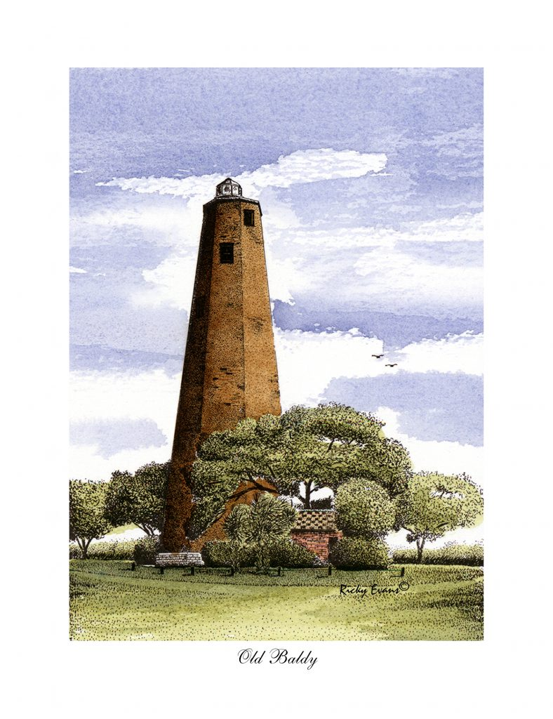 Old BALDY lighthouse watercolor by Ricky Evans