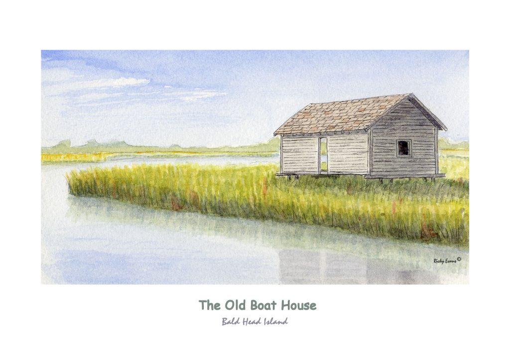 The Old Boat House Watercolor by Ricky Evans